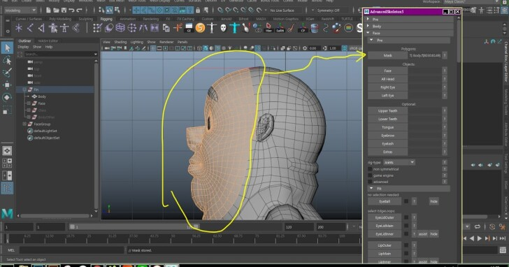 MAYA 骨架外掛 Advanced Skeleton的一些基本設定 Part 3 (臉部Rig)