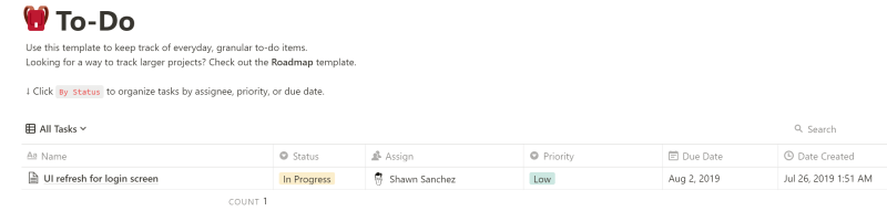 Notion Template to do list